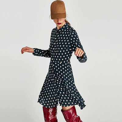 Long Sleeve Shirt Collar Cute Geometric Print Dress