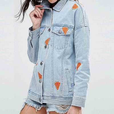 Long Sleeve Shirt Collar Grunge Floral Embroidery Jacket
