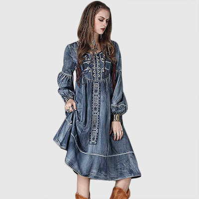 Puff Sleeve Panelled Relaxed Tribal Embroidery Dress