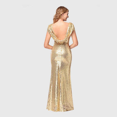 Cap Sleeve Sequin Glamorous Plain Dress