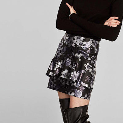 Regular Waist Ruffle Sweet Floral Print Skirt