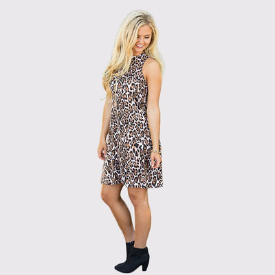 Sleeveless Round Neck Sexy Leopard Print Dress