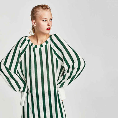 Long Sleeve Bow Edgy Striped Tunic
