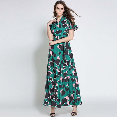 Bell Sleeve V Neck Romantic Floral Print Dress