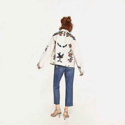 Long Sleeve Applique Funky Floral Embroidery Jacket