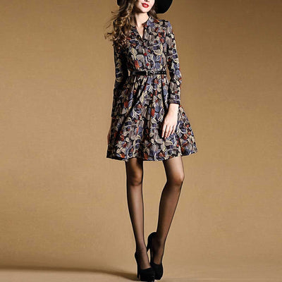 Long Sleeve Round Neck Basic Floral Print Dress