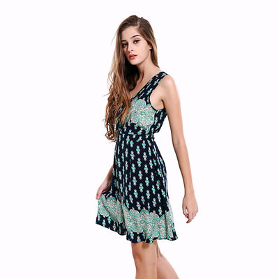 Sleeveless V Neck Sweet Tribal Print Dress