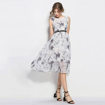 Sleeveless Round Neck Sweet Floral Print Dress