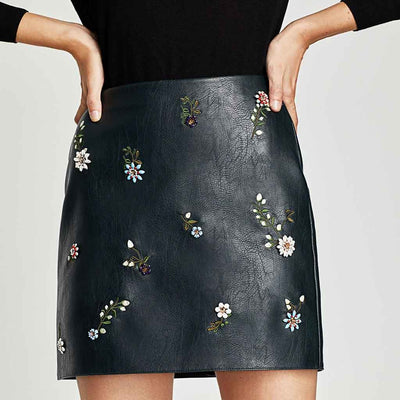 Pu Leather Edgy Floral Embroidery Micro Mini Skirt
