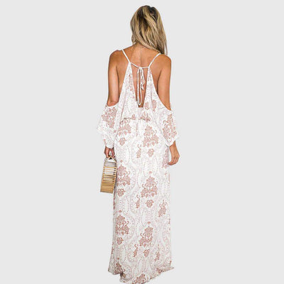 Puff Sleeve Cold Shoulder Drawstring Paisley Sun Long Dress