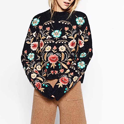 Long Sleeve Round Neck Retro Floral Embroidery Sweater