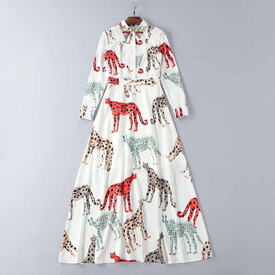 Cuff Sleeve Shirt Collar Kitsch Animal Print Dress