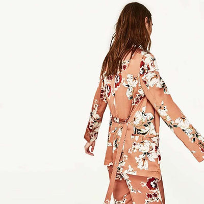 Long Sleeve Collarless Retro Floral Print Kimono