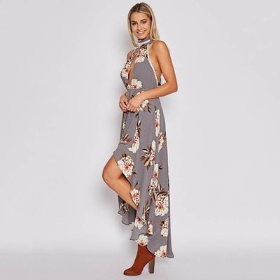 Sleeveless Bow Feminine Floral Print Dress
