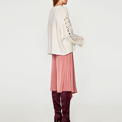 Bell Sleeve Boat Neck Romantic Plain Sweater