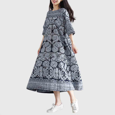 3/4 Length Sleeve Frogging Boho Tribal Print Dress