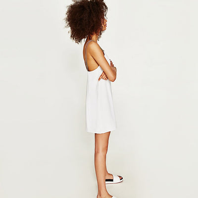 Sleeveless Eyelet Edgy Plain Dress