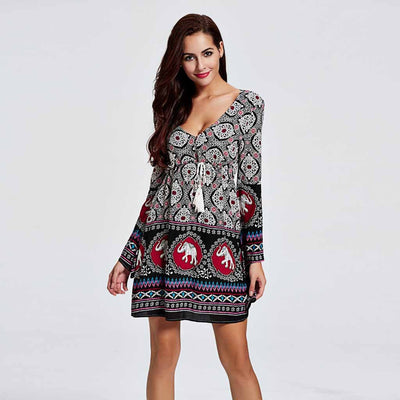 Trumpet Sleeve Tasseled Hippy Tribal Print Dress