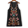 Sleeveless Deep V Neck Boho Tribal Embroidery Dress