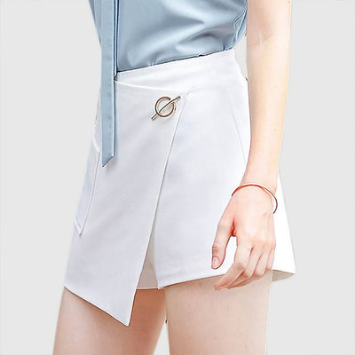 Regular Waist Pocket Retro Plain Wrap Over Skirt
