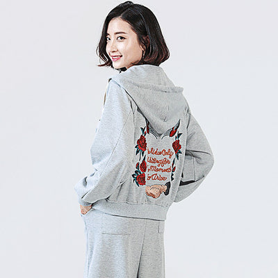 Long Sleeve Applique Kitsch Floral Embroidery Hooded Top