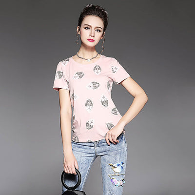 Short Sleeve Round Neck Girly Floral Print T-Shirt