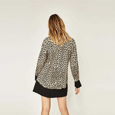 Cuff Sleeve V Neck Rocking Leopard Print Shirt