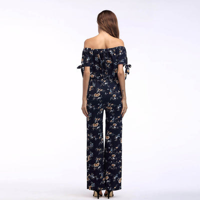 Short Sleeve Off Shoulder Playful Floral Print Jumpsuit