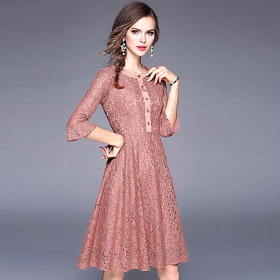 Flounce Sleeve Round Neck Girly Plain Dress
