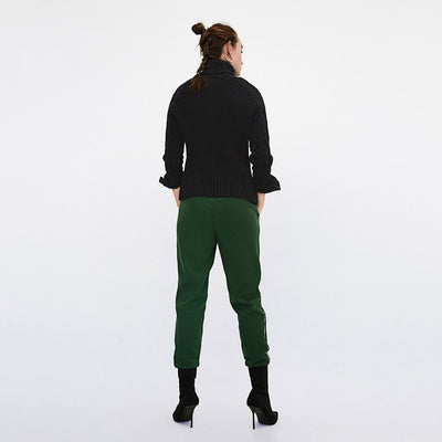 Medium Rise Drawstring Sporty Striped Sweatpants