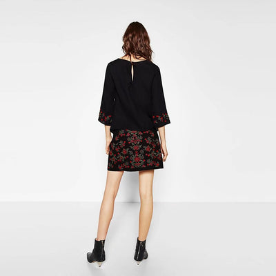 Short Chic Floral Embroidery Mini Skirt