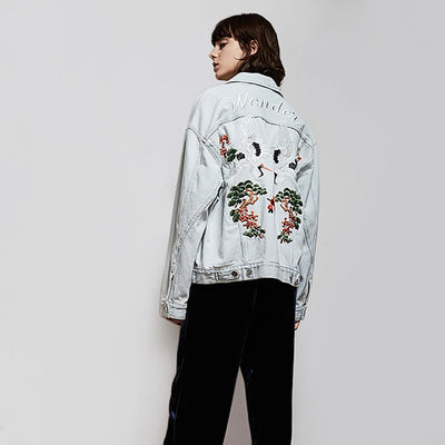 Long Sleeve Pockets Cool Floral Embroidery Jacket