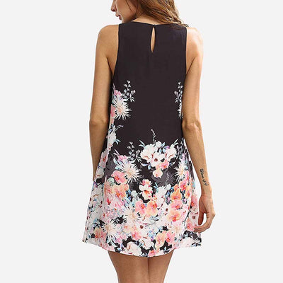 Sleeveless Round Neck Simple Floral Print Dress