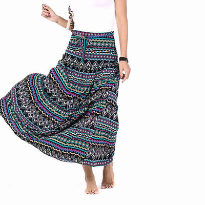 Long Boho Tribal Print Maxi Skirt