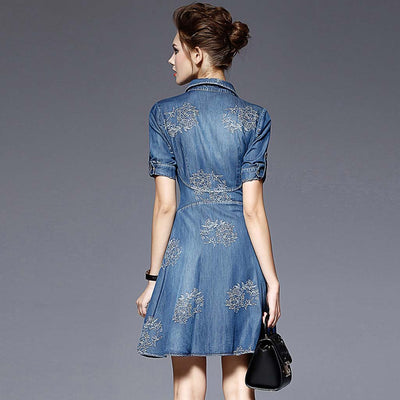 Half Sleeve Shirt Collar Casual Floral Embroidery Dress