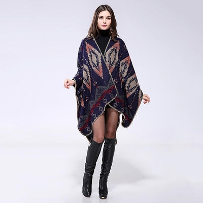 Batwing Sleeve V Neck Cozy Tribal Print Poncho