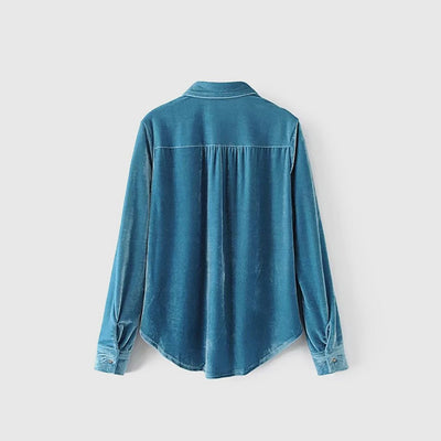 Long Sleeve Pockets Luxe Plain Blouse