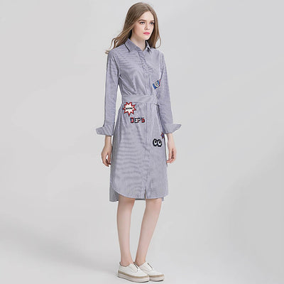 Long Sleeve Shirt Collar Cool Striped Dress