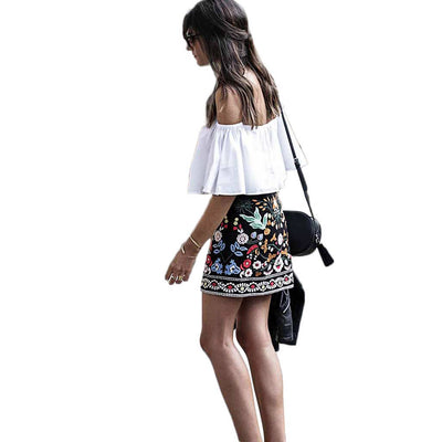 Medium Rise Boho Floral Embroidery Skirt