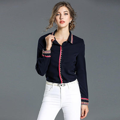 Cuff Sleeve Shirt Collar Classic Tribal Embroidery Shirt