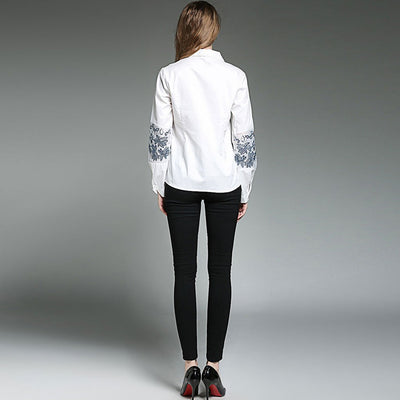 Cuff Sleeve Shirt Collar Stylish Floral Embroidery Shirt
