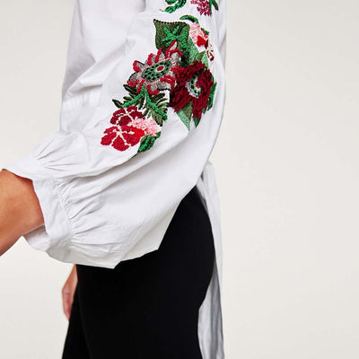 Cuff Sleeve Boat Neck Girly Floral Embroidery Blouse