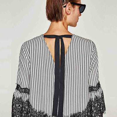 Trumpet Sleeve Round Neck Stylish Striped Smock