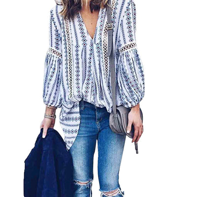 Puff Sleeve V Neck Boho Abstract Print Blouse
