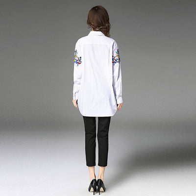 Long Sleeve Shirt Collar Flattering Floral Embroidery Shirt