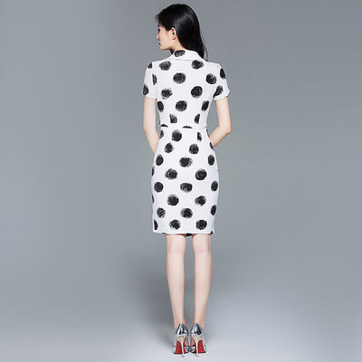 Short Sleeve V Neck Chic Polka Dot Dress