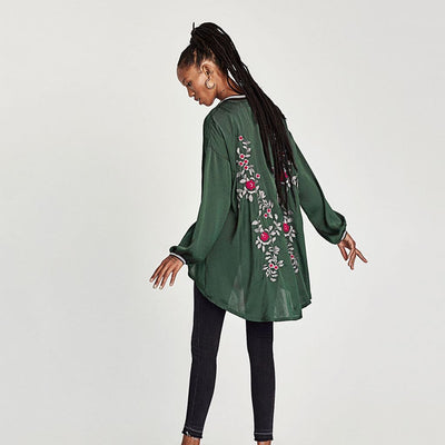 Long Sleeve Zipper Sporty Floral Embroidery Top