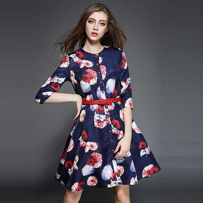 Half Sleeve Button Retro Floral Print Dress