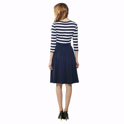 3/4 Length Sleeve Round Neck Retro Striped Dress