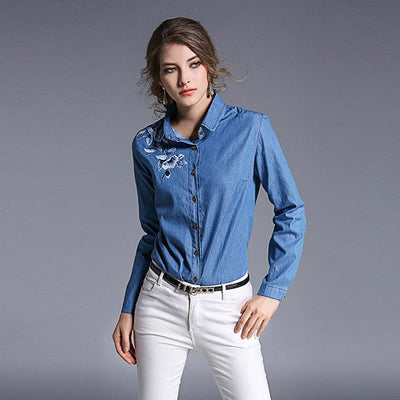Long Sleeve Shirt Collar Classic Floral Embroidery Shirt